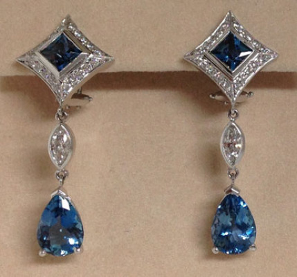 Aquamarine & Diamond Platinum Drop Earrings