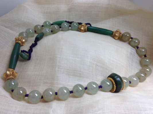 Jadeite and Pyu chalcedony beads