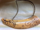 Tibetan 17th century makara powder horn