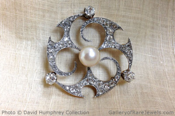 Edwardian Diamond, Natural Pearl Brooch
