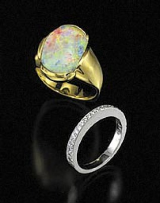 Celtic Cross Black Crystal Opal Gold Ring