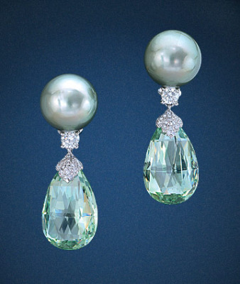 Platinum Green Beryl Diamond Earrings
