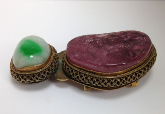 Qing Dynasty Buckle       Tourmaline and jadeite