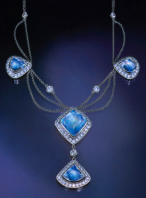 Rainbow Moonstone Diamond Platinum Necklace