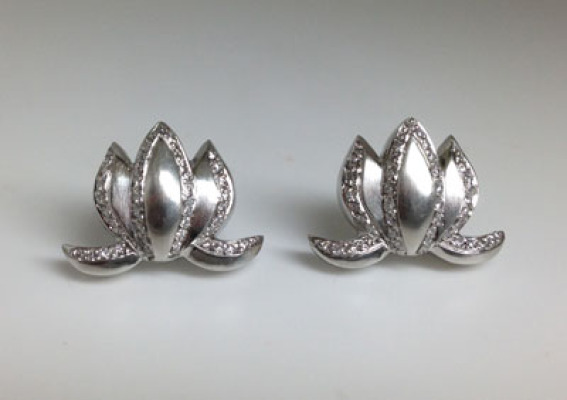 Platinum and Diamond Lotus Earrings