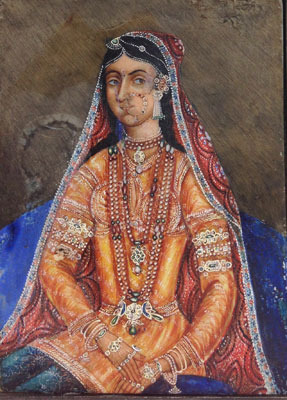 Indian Miniature of a Bejeweled Maharani                   18th-19thc India