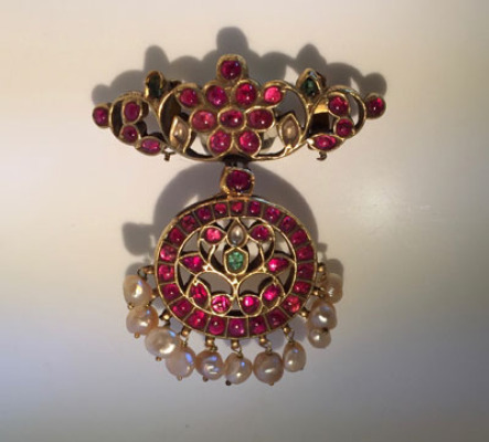 Antique Ruby - Natural Pearl Pendant