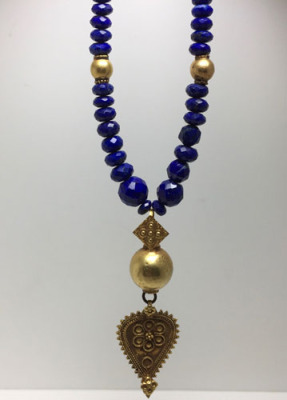 Afghan Faceted Lapis and Antique Gold Pendant
