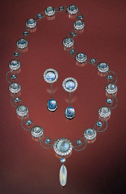 Rainbow Moonstone Necklace & Earring Set